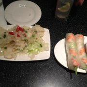 spicy squid and summer rolls