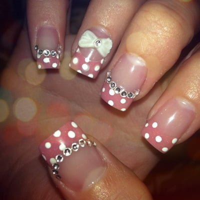 Pink Acrylic White Tip Nails Acrylic Nails Glitter Pink