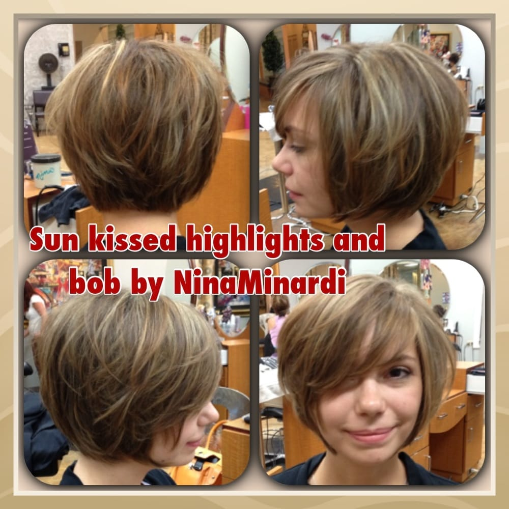 Sun kissed highlights and bob by nina minardi yelp for Nina g salon lahore