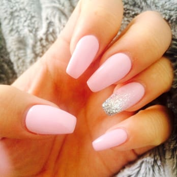 pink glitter coffin nails