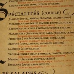 La Crêperie de Josselin - Paris, France. part of the menu
