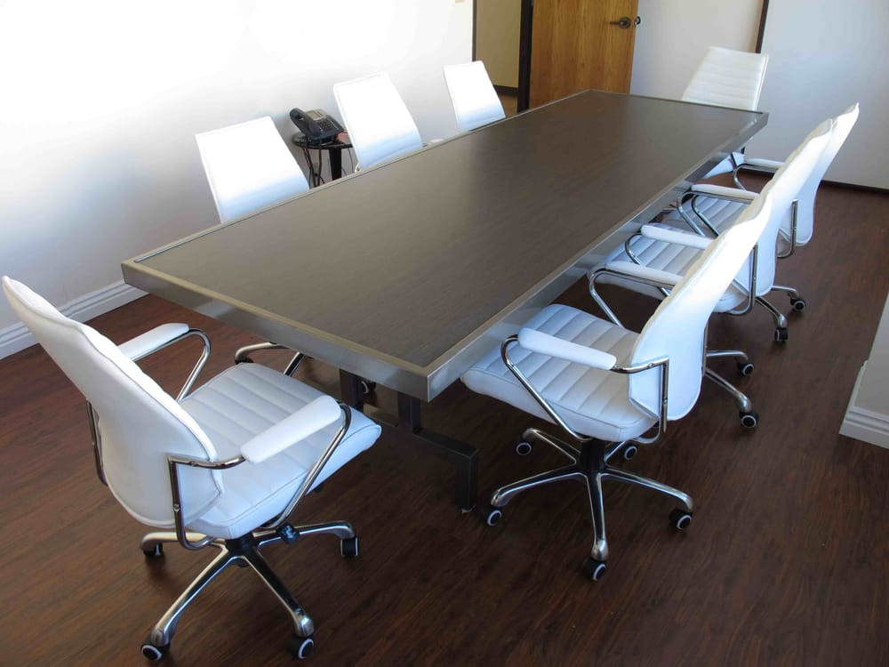 Conference table welded clear coated raw steel with for Oriental furniture los angeles