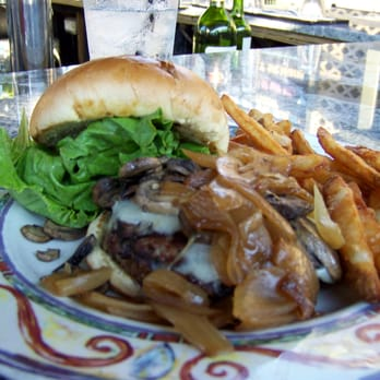 Rocky River Brewing Company - Mushroom Swiss burger with Grilled ...