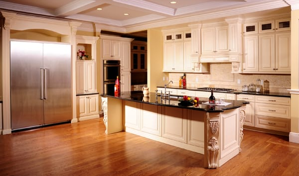antique cream kitchen cabinets with absolute black