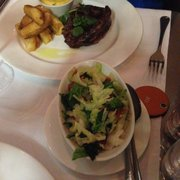 Special Rib eye with Bearnaise and chips + side of Savoy cabbage with bacon