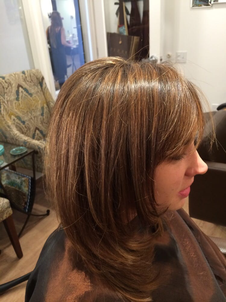 ... Caramel highlights on medium brown hair, cut with layers and side bang