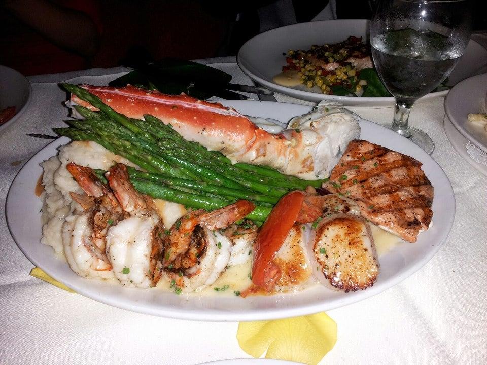Seafood Bacchanalia - lobster tail, king crab leg, salmon, prawns,scallops, lobster mashed ...