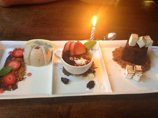 Deep Blu Seafood Grille - banana cheesecake, espresso creme brulee and ...