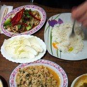 Lab Huhn und Pak Choi mit Rind