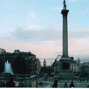 view of Trafalgar Square and Big Ben from the steps of the National Gallery