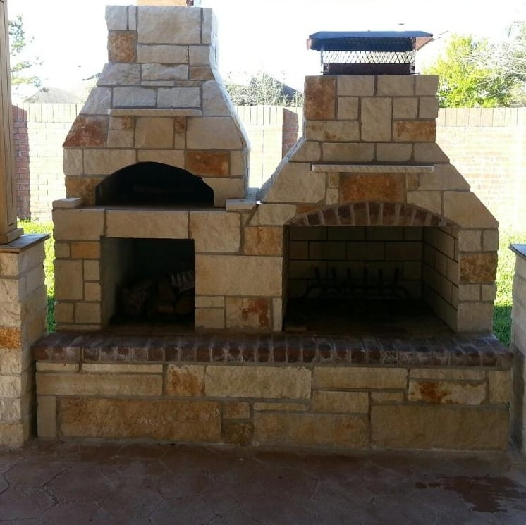Austin stone outdoor fireplace and pizza oven yelp for Austin stone fireplace