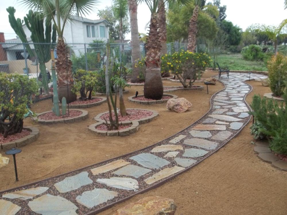 diego ca united states flagstone walkway to backyard seating area