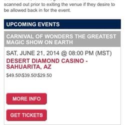 Desert diamond casino tucson az bingo