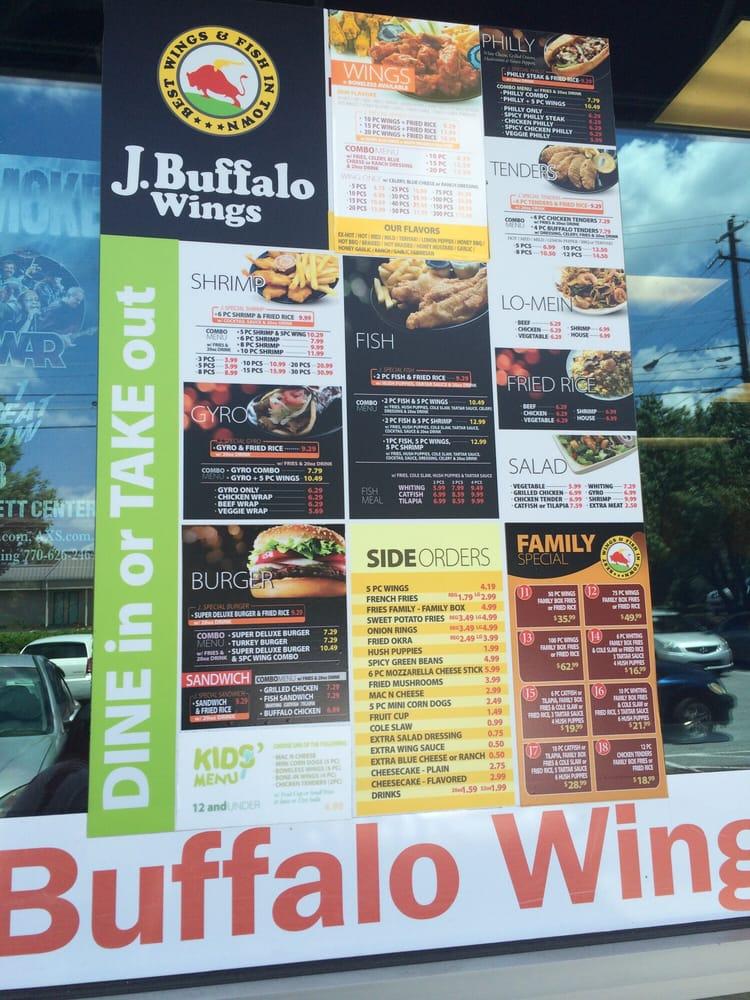 J Buffalo Menu J Buffalo Wings - Roswell  GA
