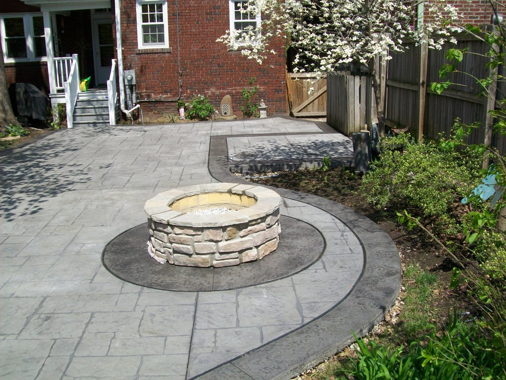 Stamped Concrete Patio With A Stamped Concrete Border And