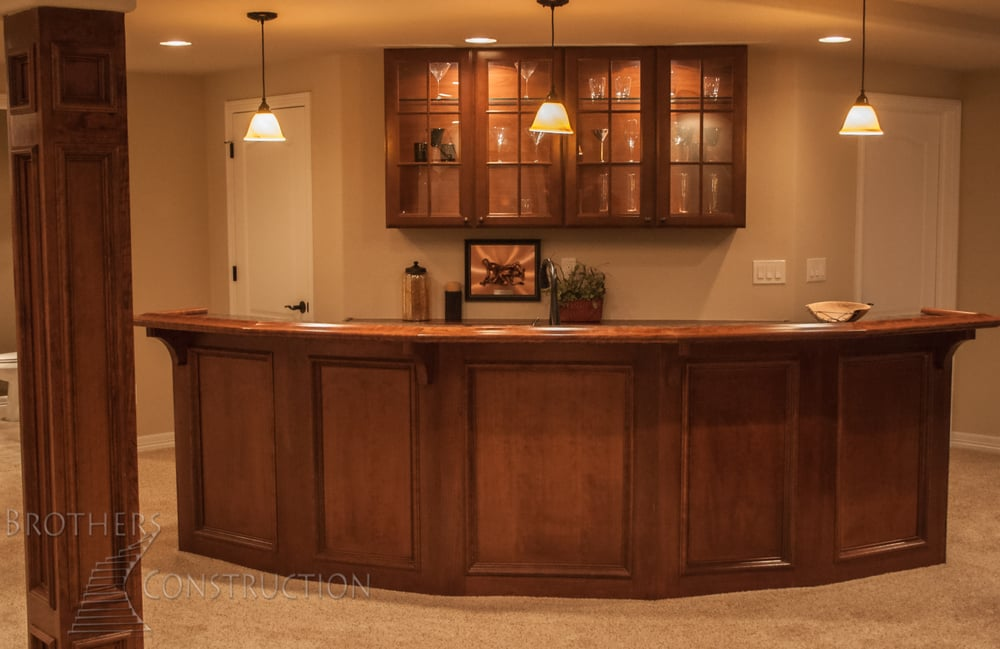Custom Recessed Paneled Face On Wet Bar In Basement
