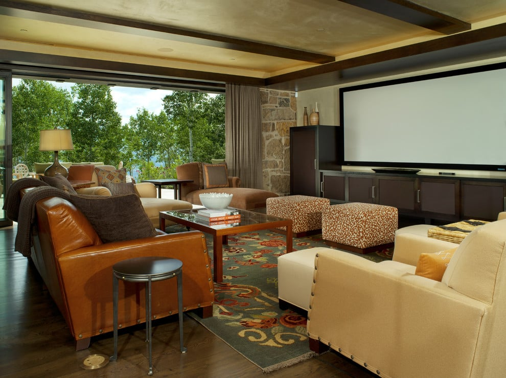 Contemporary Media Room With Blackout Curtains On Motorized Tracks Yelp