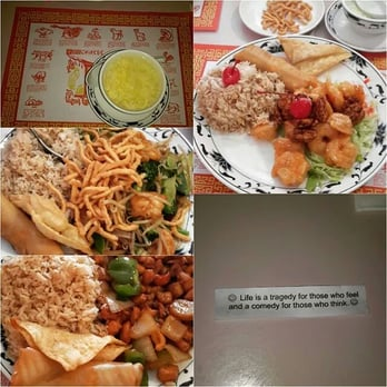 Top right walnut shrimp top left egg drop soup other plates were