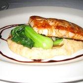 Norwegian salmon w/honey soy glaze, bok choy and kim chi mashed ...