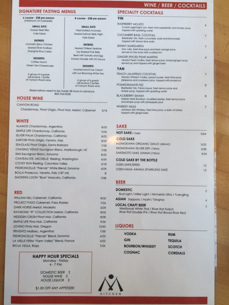 m kitchen menu yelp