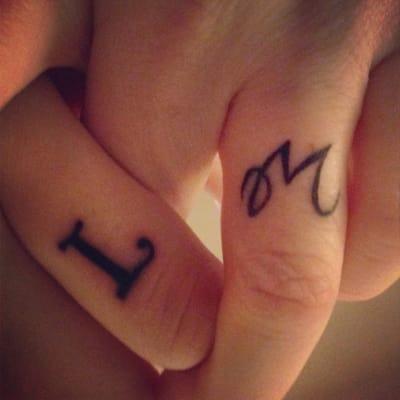 Ring Finger Tattoo Initials