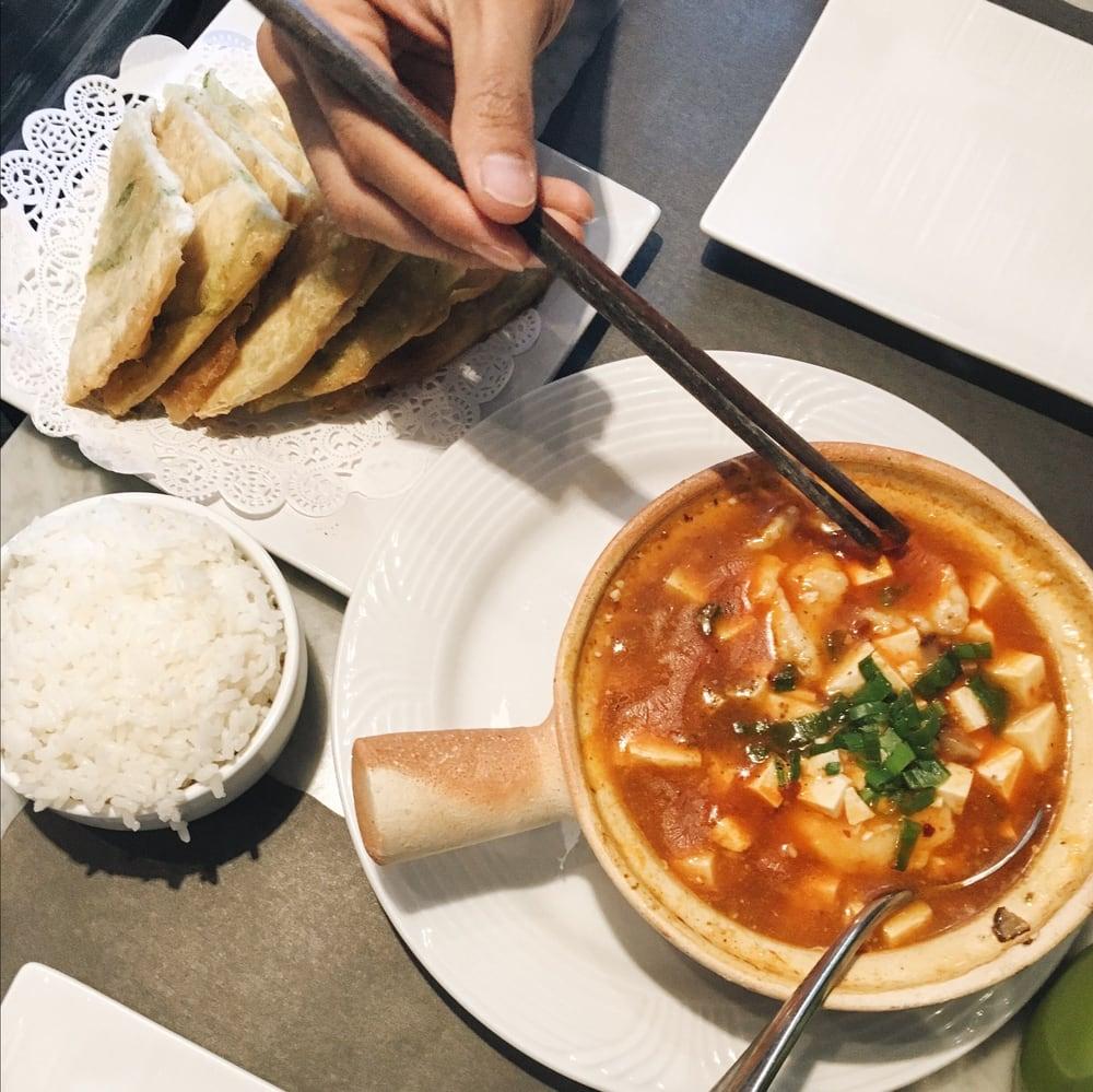 ... Cambridge, MA, United States. Mapo tofu hot pot // scallion pancake