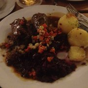 Beef and red cabbage and dumplings.