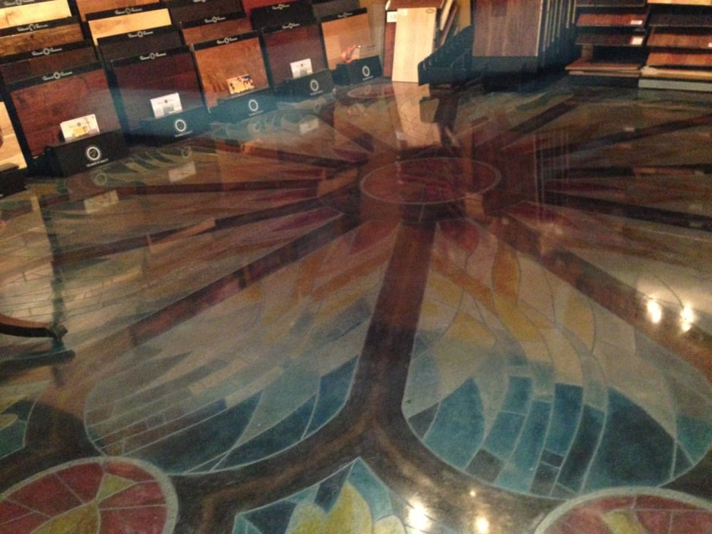 Diamond polished concrete decorative saw cut and stained for Diamond cut floors