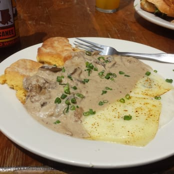 ... United States. Sweet potato biscuits, mushroom gravy and cheesy grits