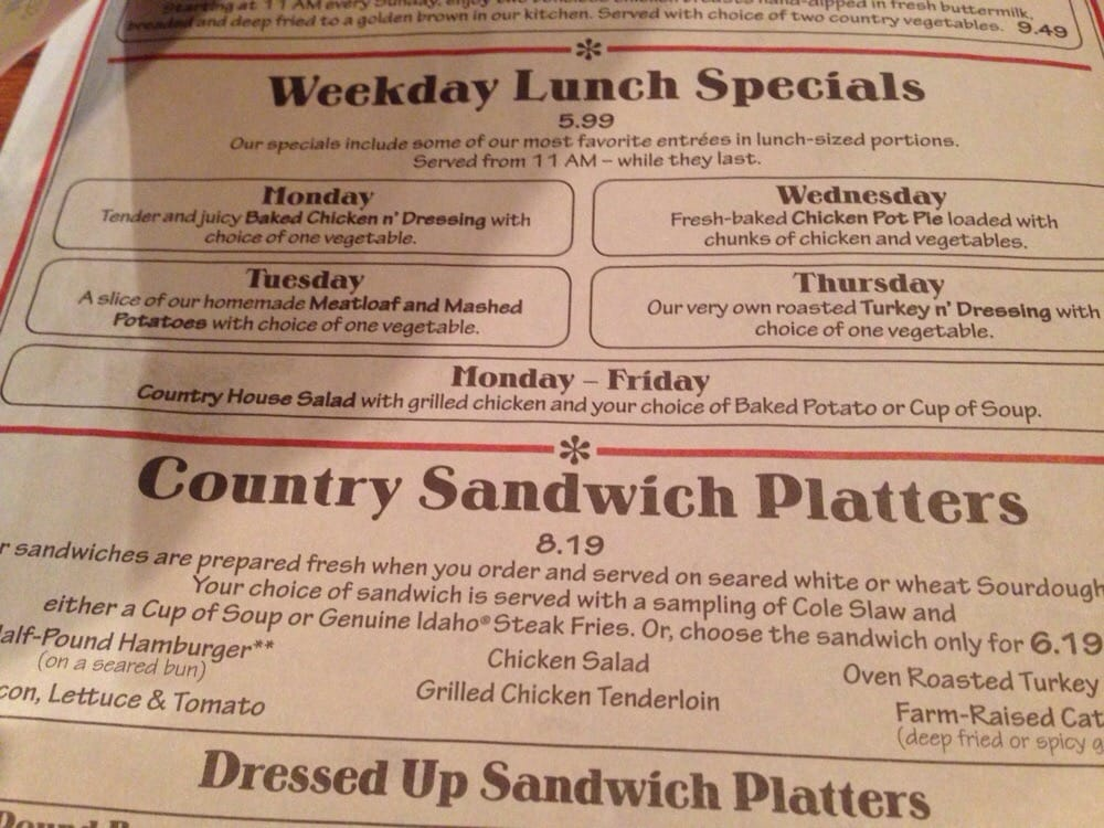 cracker barrel old country store menu 1