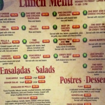 El Chico Mexican Restaurant Menu