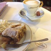 Apfelstrudel and a side of whipped cream with Vienna Coffee (milk not ice cream)