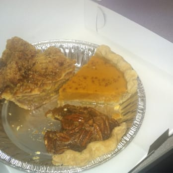 ... . Apple pie with walnut streusel topping, sweet potato, and pecan