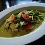 Green curry with chicken.