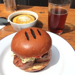 Face sausage burger, marrow mash and…