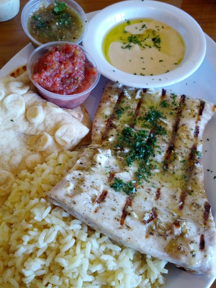 Grill wahoo lemon oregano w rice hummus yelp for Malibu fish grill