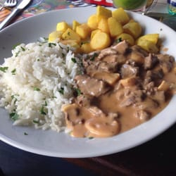 Stroganoff, meat is pretty tender. Good!
