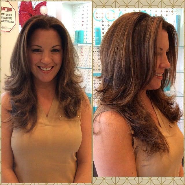 Honey caramel blonde ombre balayage highlights on a for A la mode salon brooklyn