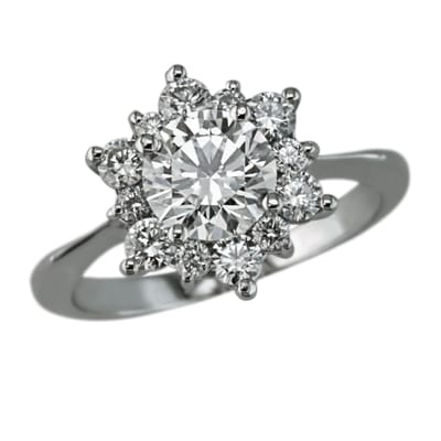 Ethan Lord Jewelers - Floral shaped round diamond halo engagement ring - Chicago, IL, United States
