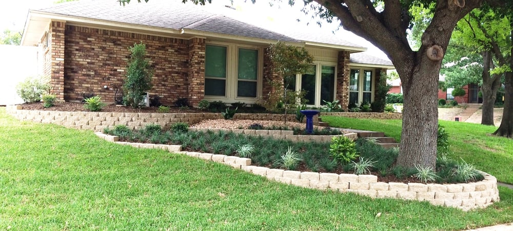 Sloped Front Yard After With Multi Level Landscaping Yelp