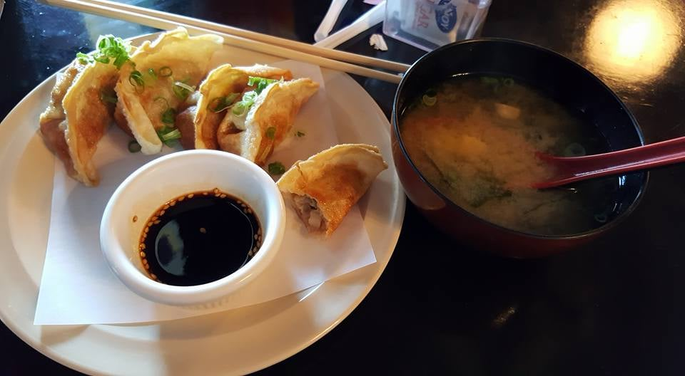 Crispy gyoza with sauce and yummy miso soup yelp for Modern house sushi 9 deler sett