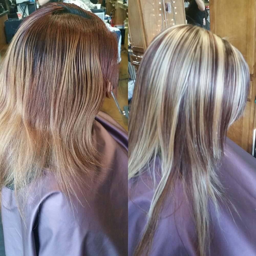 Stylist Irene M. Crown highlights , red to blonde with Olaplex