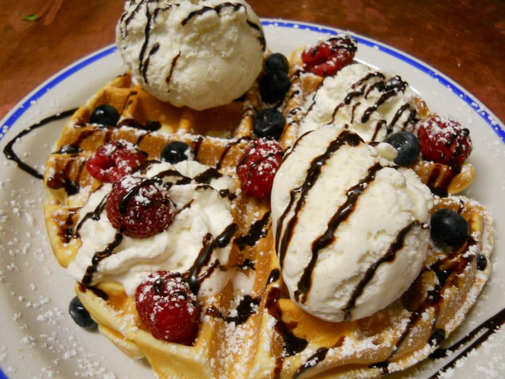 Spolem Cafe - Waffle with ice cream, whip and fruits =) - Ridgewood ...
