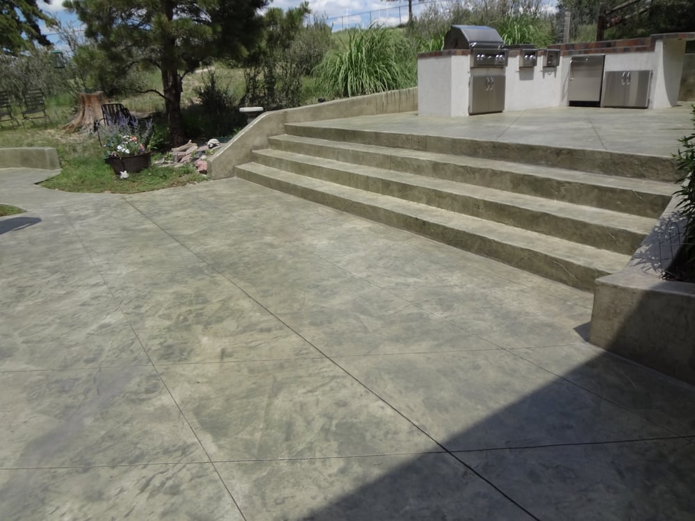 Decorative Stamped And Stained Concrete Steps And Patio Yelp