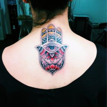 My hamsa tattoo done by Hamsa Hand Tattoo Thigh