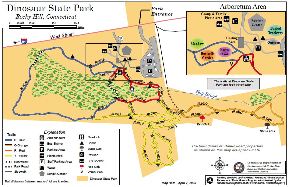 Rocky Hill (CT) United States  city images : Dinosaur State Park Rocky Hill, CT, United States. Trail Map of ...