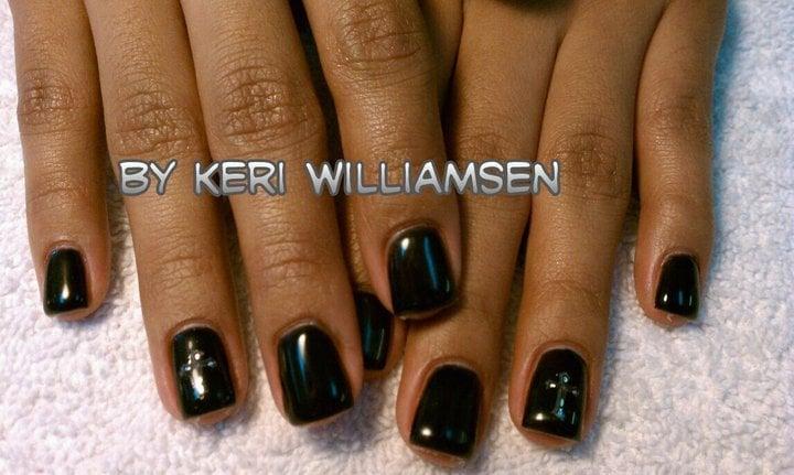 Sassy Nails - Black gel polish with decal overlay. - Reno, NV, United