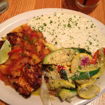 and grits - Grilled mahi mahi with peach salsa, white cheddar grits ...