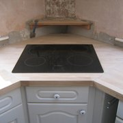 hob in solid oak worktop