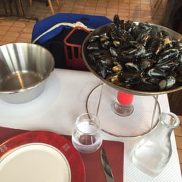 Enough mussels for two plus fries plus bread plus soup all for 19.50 Euros.